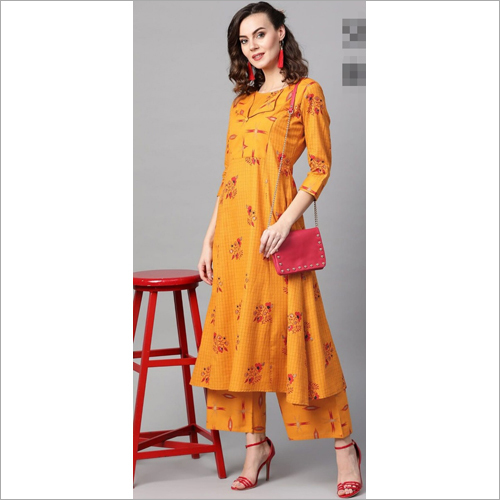 Ladies Printed Yellow Kurti With Palazzo