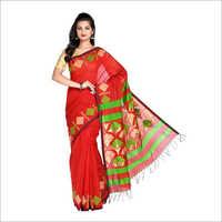 Ladies Orange Handloom Saree