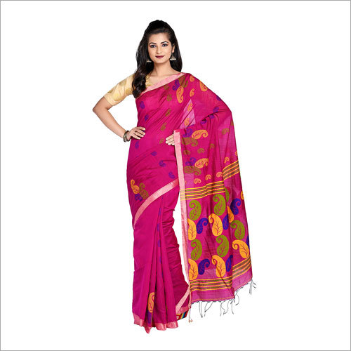 Ladies Pink Handloom Saree