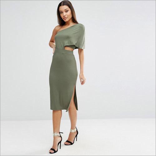 Ladies Deep One Shoulder Midi Bodycon Dress
