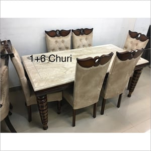 6 Seater Round Churi Design In Legs Dining Set