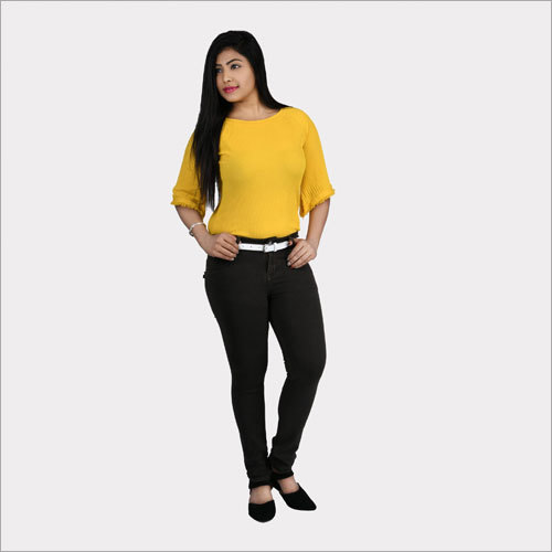 Black Skinny Fit Mid-Rise Clean Look Stretchable Cropped Jeans