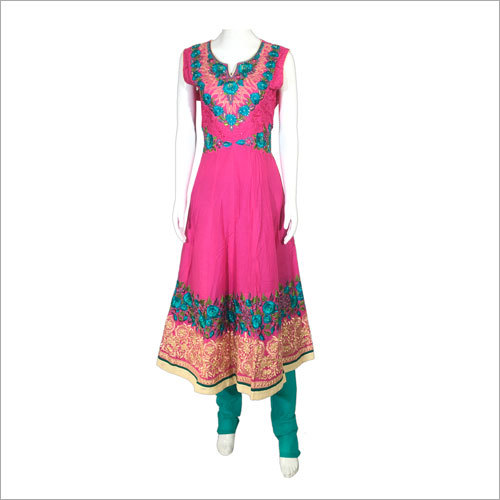 Women Candy Pink And Jade Design Gown With Churidar