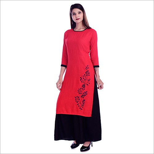 Round Neck Fancy Kurti With Palazzo