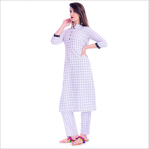 White Check Kurti With Pant
