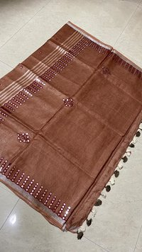 Pure Linen By Linen 120 Count Cut Work With Foil Embroidery Saree .