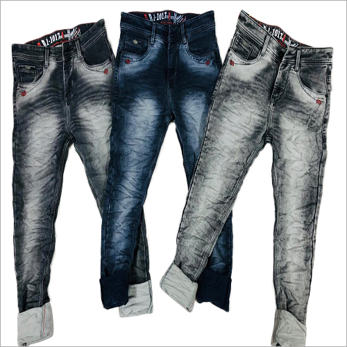 Mens Faded Rugged Jeans