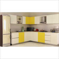 Laminated L Shaped Modular Kitchen