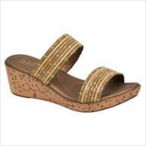 Brown And Beige Women Slipper