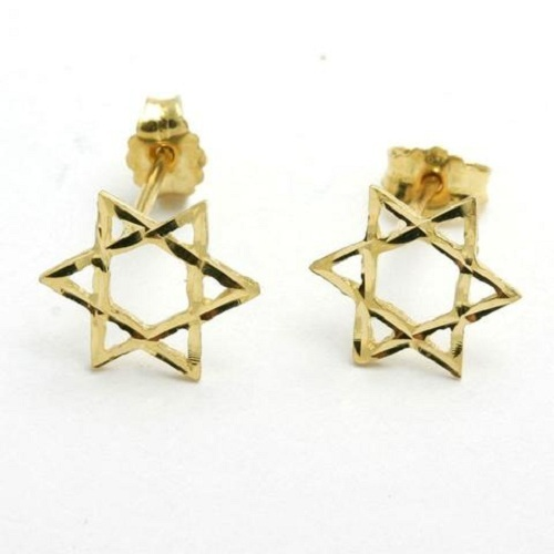 Sterling silver earrings star of david shape