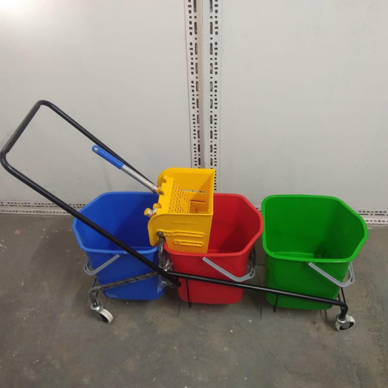 Three Bucket Wringer Trolly