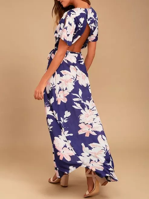 Flower Printed A line Dress for Girl