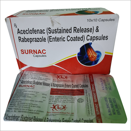 Aceclofenac Sustained Release And Rabeprazole Enteric Coated Capsules