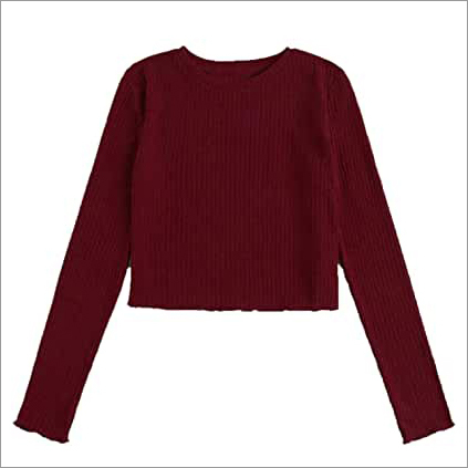 Women's Basic Sexy Crew Neck Full Sleeve Slim Fit Crop Top T-Shirt