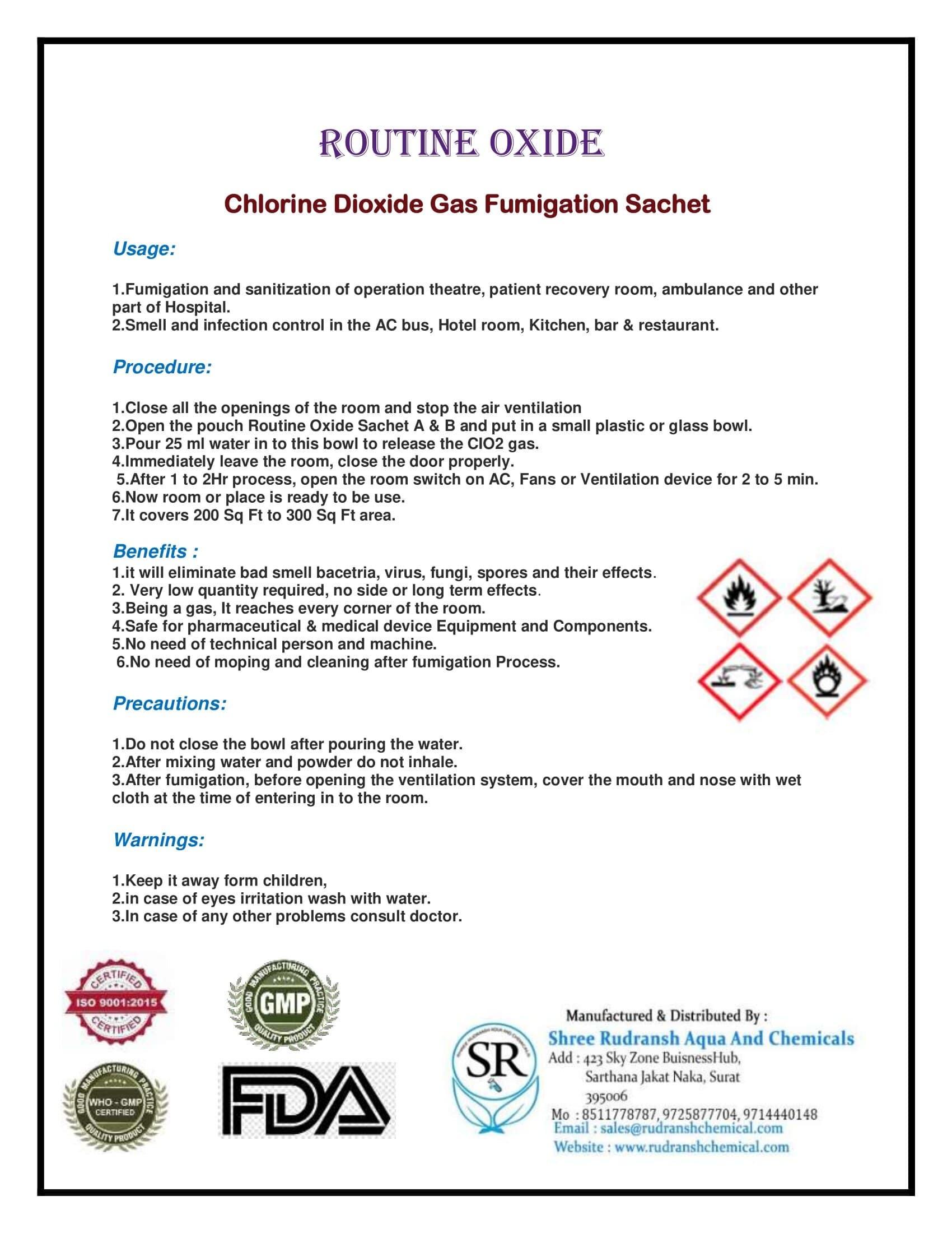 Routine Oxide Gas Fumigation Sachet