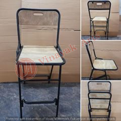 Iron and Wooden Folding Bar Chair