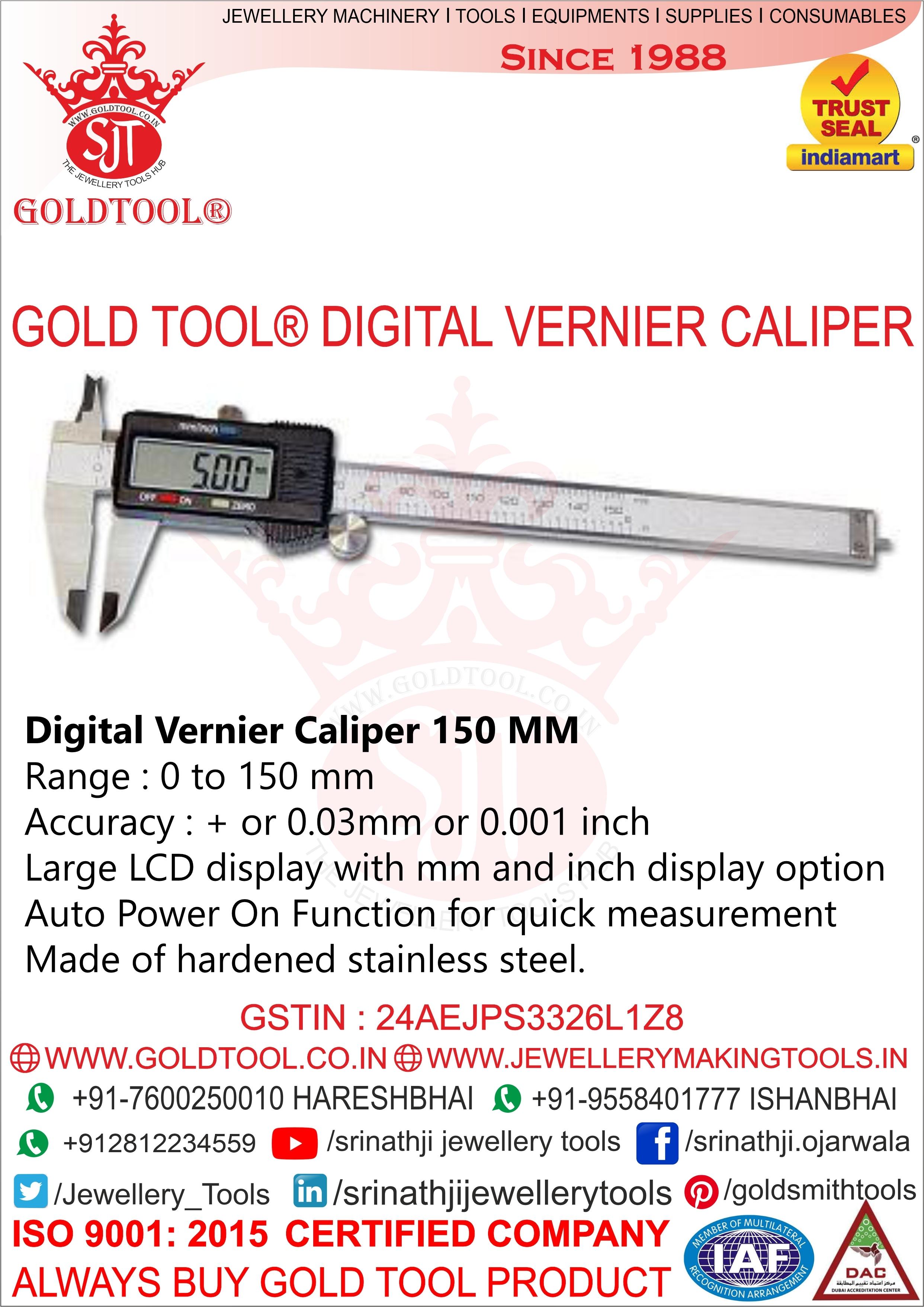 Gold Tool Digital Vernier Caliper