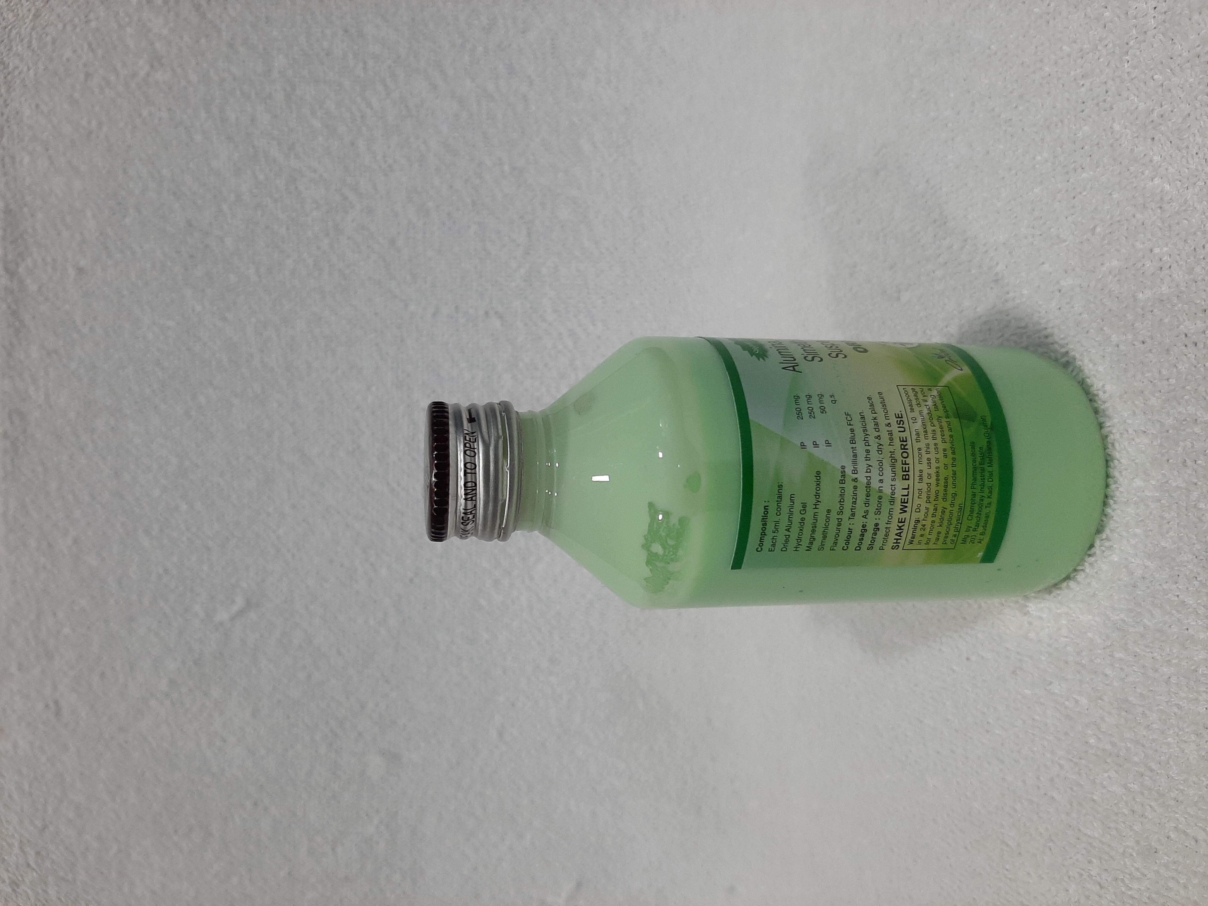 Dried Aluminium Hydroxide Gel, Magnesium Hydroxide,Axtivated Dimethicone And Sorbitol Suspension