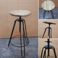 Iron Stool With Wooden Top
