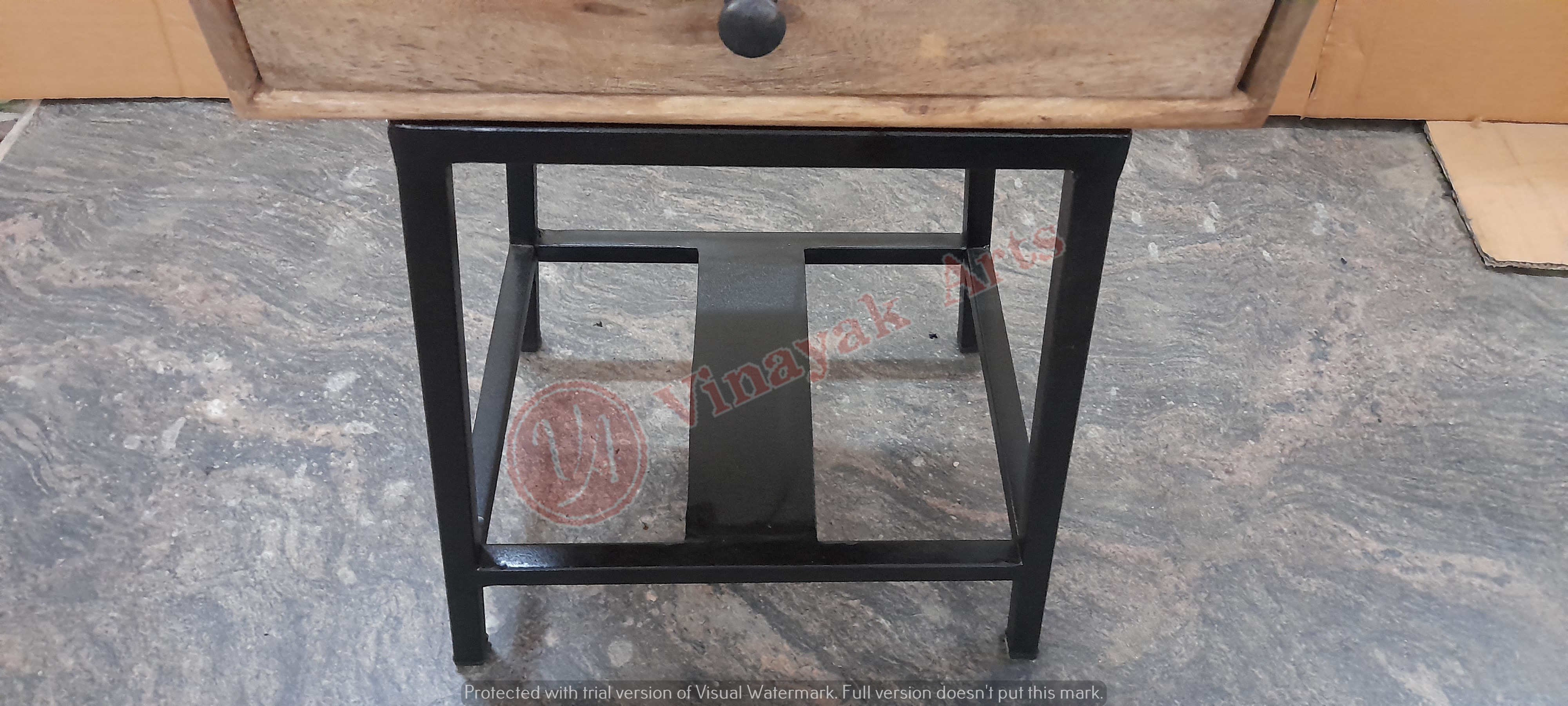 Iron and wooden Bedside
