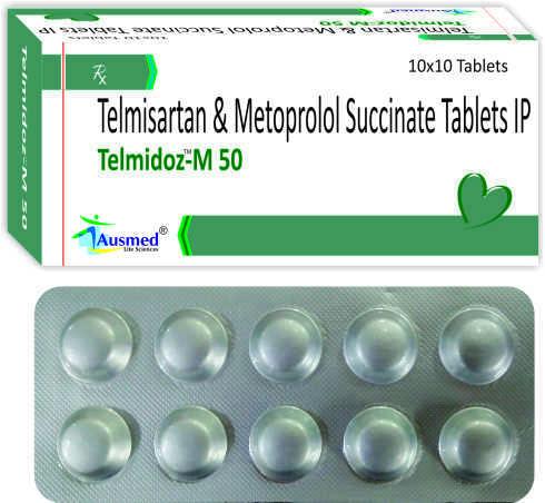 Telmisartan IP 40 mg. + Metoprolol Succinate IP   23.75mg. + eq. to Metoprolol Tartarate    25mg/TELMIDOZ-M 25