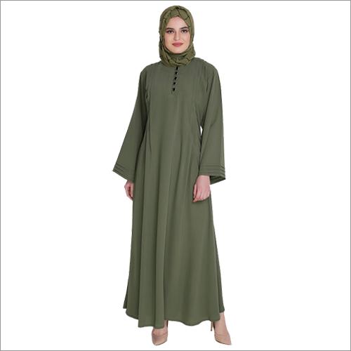 Green Pleated Abaya