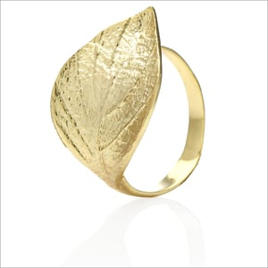 Brass Metallic Hand Textured Oxidized & Yellow Gold Plated Ring