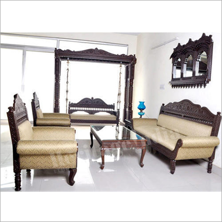 Designer Wooden Sofa Set Including Swing