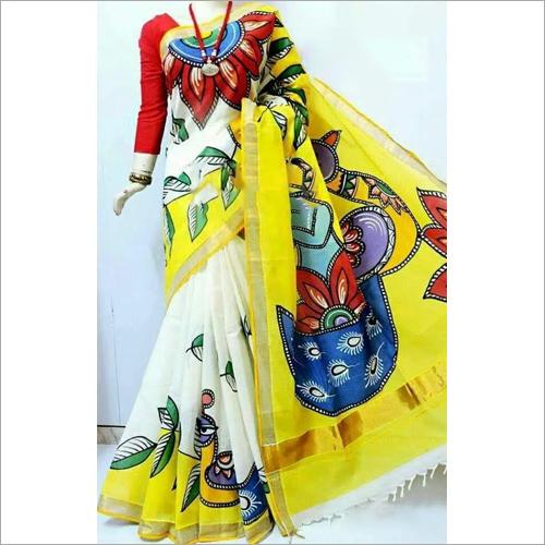 Murshidabad Hand Block Print Silk Saree