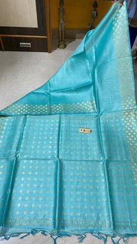 Pure Linen Silk Saree With Double Sided Jari Border Jari Woven Pallu .