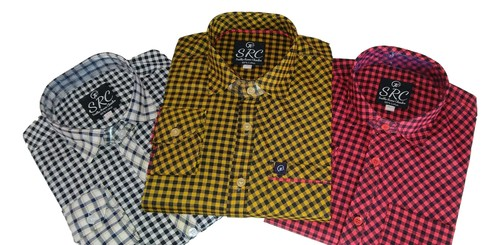 Mens Casual Shirts Jeep Cotton Checks