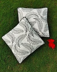 Kirti Finishing  White Leaf Cotton Cushion Cover 16 inches Set of 5