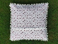 Kirti Finishing  White Stars Cotton Cushion Cover with Pom Pom 16 inches Set of 5