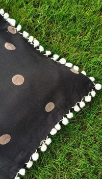 Kirti Finishing  Black Polka Dots Cotton Cushion Cover with Pom Pom 16 inches Set of 5