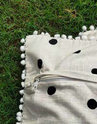 Kirti Finishing  Off White Polka Dots Cotton Cushion Cover with Pom Pom 16 inches Set of 5