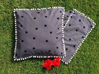 Kirti Finishing  Gray Polka Dots Cotton Cushion Cover with Pom Pom 16 inches Set of 5