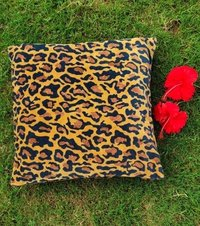 Kirti Finishing  Brown Leopard Print Velvet Cushion Cover 16 inches Set of 5