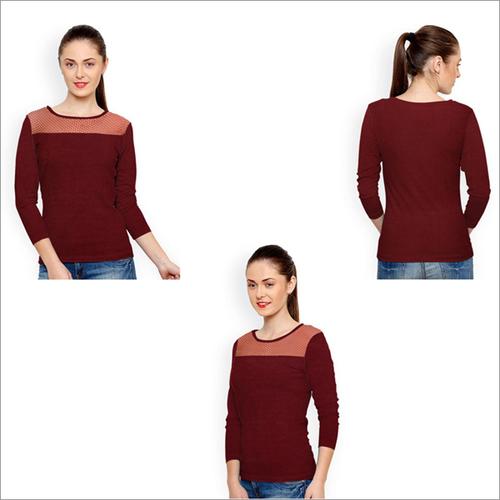 Marron Color Knitting T-shirt Round Neck Net Full Sleeve