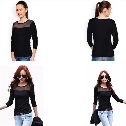 Black Color Knitting T-shirt Round Neck Net Full Sleeve