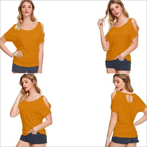 Pirate Gold Color Knitting Round Neck Half Sleeve Off Shoulder T-shirt Top
