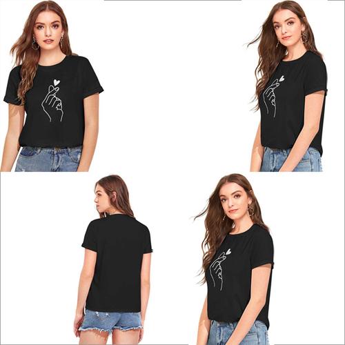 Black Color Cotton Round Neck Half Sleeve T-shirt