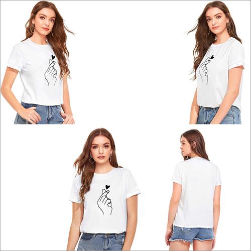 White Color Cotton Round Neck Half Sleeve T-shirt