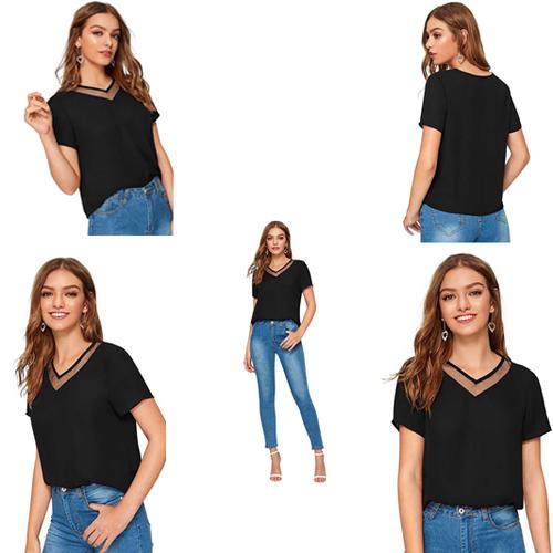 Black Color Tipsy 355 V-Neck Half Sleeve T-Shirt