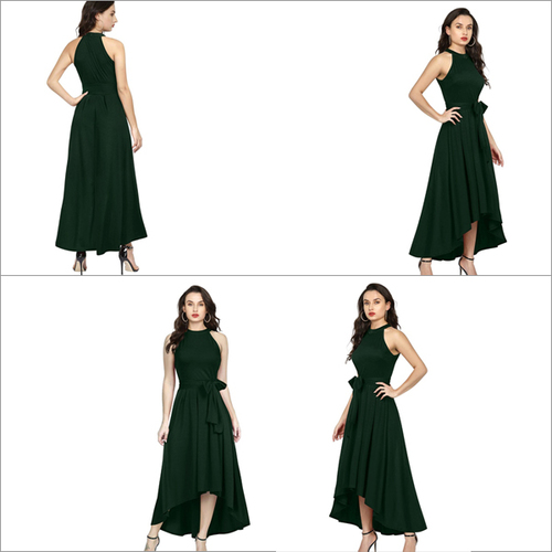 Green Color Rayon Sleeveless Up Down Designer Gown