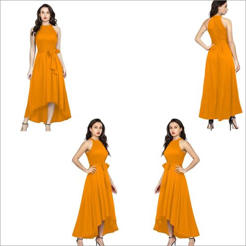 Yellow Color Rayon Sleeveless Up Down Designer Gown