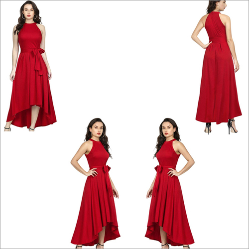 Red Color Rayon Sleeveless Up Down Designer Gown