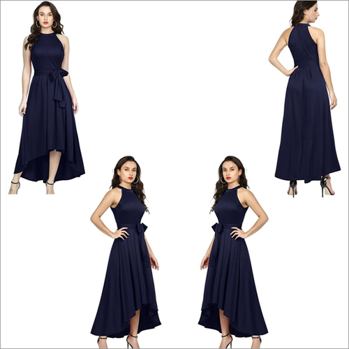 Blue Color Rayon Sleeveless Up Down Designer Gown