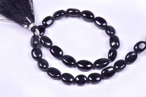 Black Jade Oval Beads