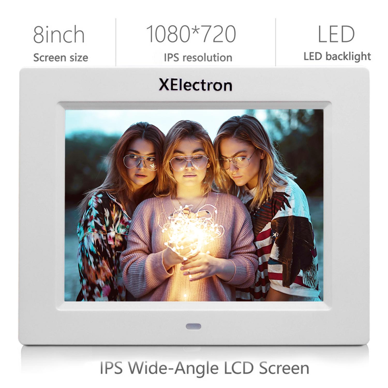 XElectron 8 Inch White IPS Display Digital Photo Frame