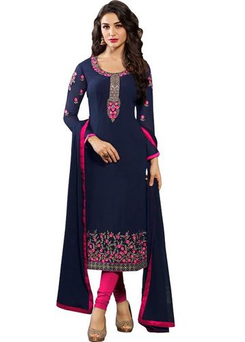 Blue Georgette Embroidery Suit